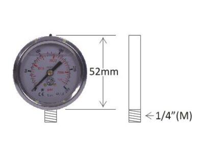 "Pressure Gauges - 1/4"" Male Post Mount, 52mm Diameter"