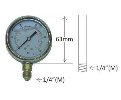 "Pressure Gauges - 1/4"" Male Post Mount, 63mm Diameter"