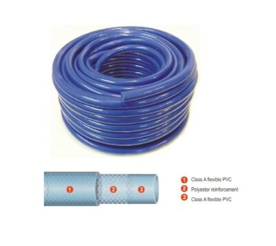 "Low Pressure Tricoflex ""Tricoclair"" Braided Blue Hose, 30m Rolls"